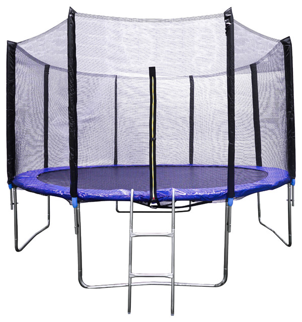 Home Beyond 12' Trampoline Safety Enclosure Net With Spring Pad and Ladder