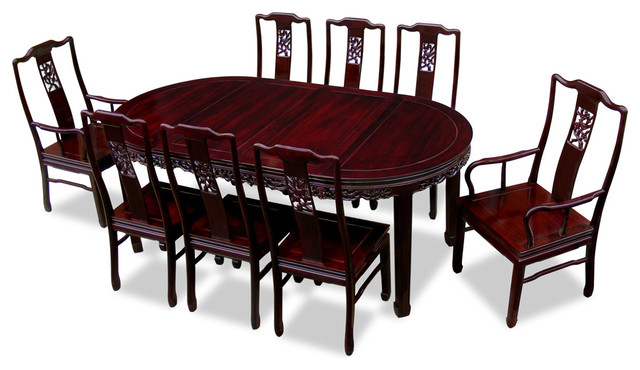 80 Rosewood Flower Design Oval Dining Table With 8 Chairs
