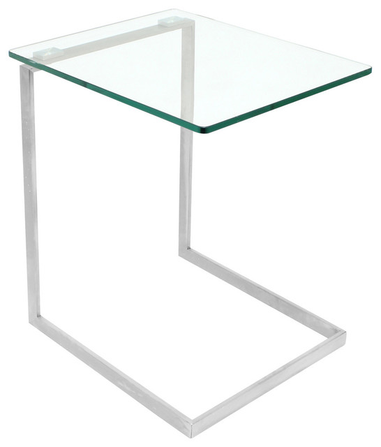 LumiSource Zenn End Table With Clear Glass