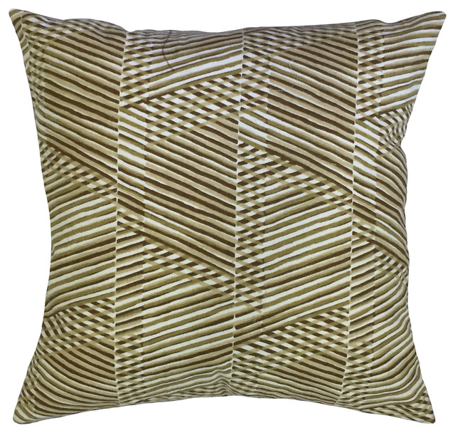 Qays Geometric Down Filled Throw Pillow Goldleaf 22 X22