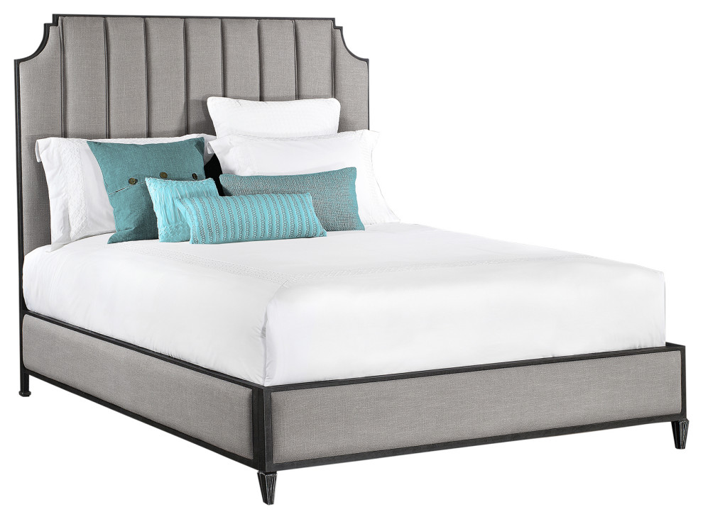 Susie Metal Platform Bed Headboard Mixology Steam Fabric Copper Bisque Transitional Platform Beds By Taylor Gray Home
