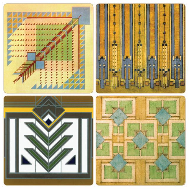 Frank lloyd wright rug design stone coasters set of 8 midcentury coasters by coasterstone - Frank lloyd wright rugs ...