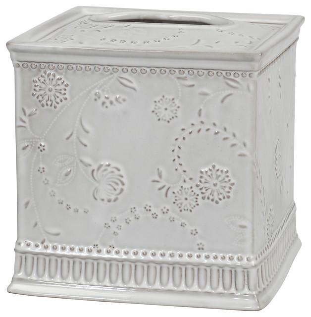 Eyelet Ceramic Tissue Box Cover