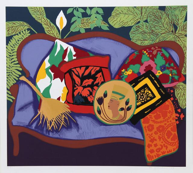 Hunt Slonem, Purple Couch, Serigraph