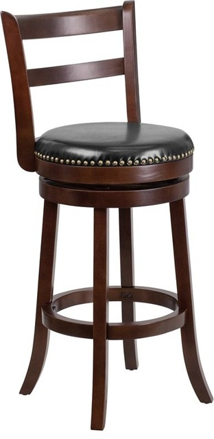 Estella 30 Ladder Back Cappuccino Wood Bar Stool With Black