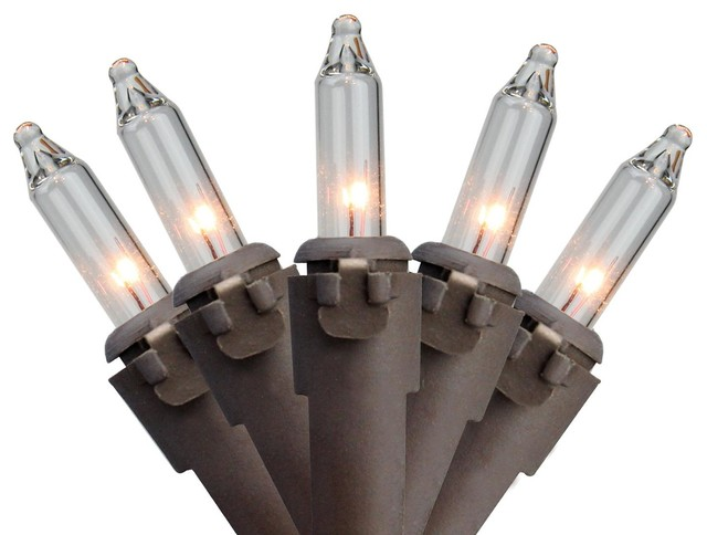 """Set Of 50 Clear Mini Christmas Lights 2.5"""" Spacing - Brown Wire"""