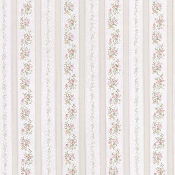 Merle beige floral stripe wallpaper traditional for Wallpaper traditional home