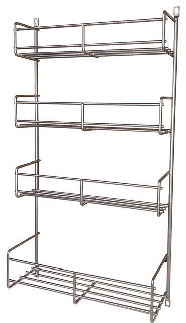 "Kv Door Mount 4-Tier Spice Rack, Frosted Nickel, 7.75""."