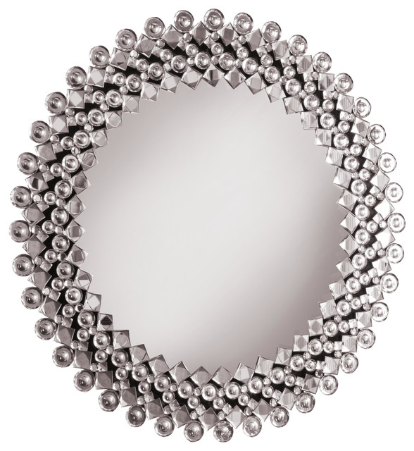 Round Crystal Wall Mirror Contemporary Wall Mirrors