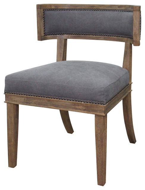 Livingston Modern Classic Curved Back Charcoal Gray Cotton Dining Chair