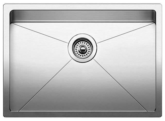 """Blanco Quatrus 25""""x18"""" 1 Basin Stainless Steel Undermount Kitchen Sink, Satin"""
