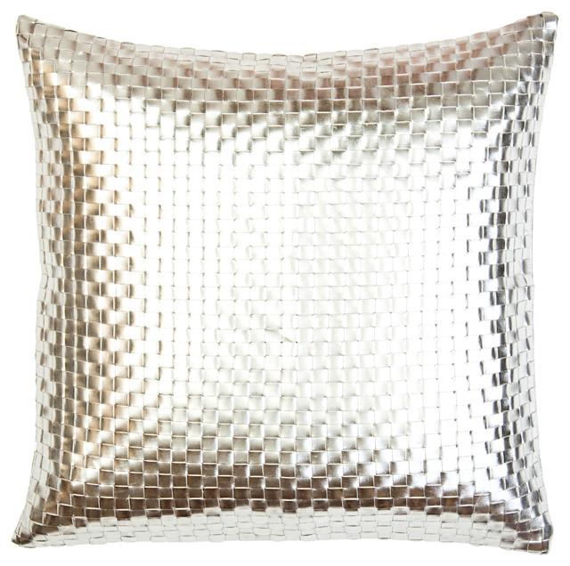 Metallic Basket Weave Pillow Silver