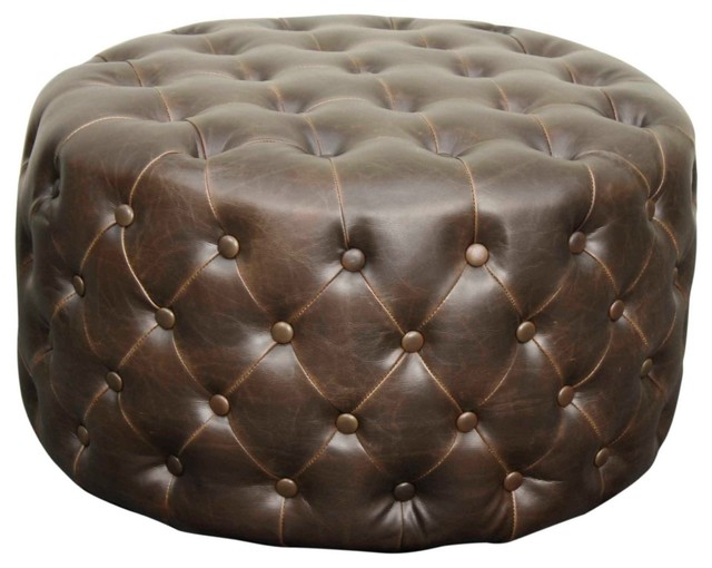 Stupendous Lulu Round Bonded Leather Ottoman Vintage Dark Brown Caraccident5 Cool Chair Designs And Ideas Caraccident5Info