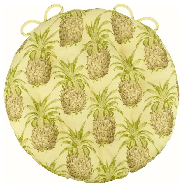 Pineapple Grove Natural Bistro Chair Pad 16 Round Cushion With