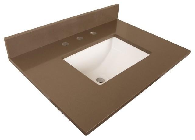 """Bellaterra 30"""" Gray Quartz Counter Top, Rectangular Sink."""