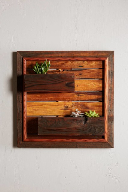 Reclaimed Wood Wall Planter Rustic Indoor Pots And