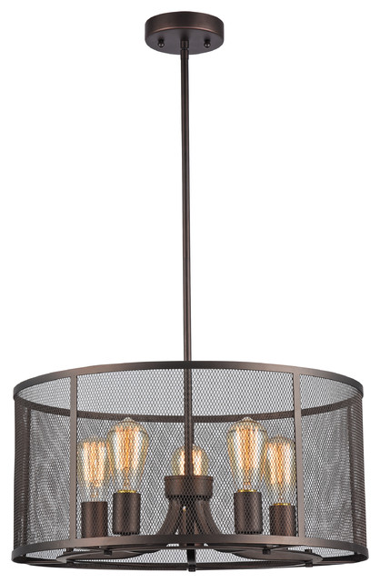 Ironclad IndustrialStyle 5Light Ceiling Pendant Oil Rubbed