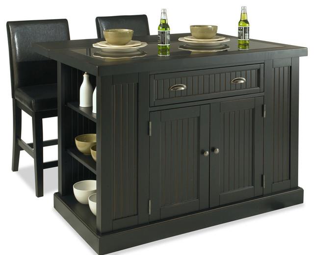 De Clare 3-Piece Island And Stools Set, Distressed Black.