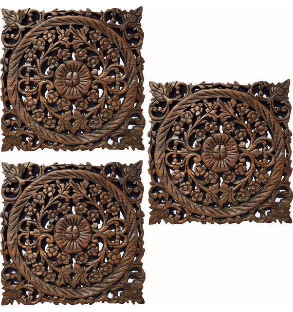 Wood Carved Wall Panel Asian