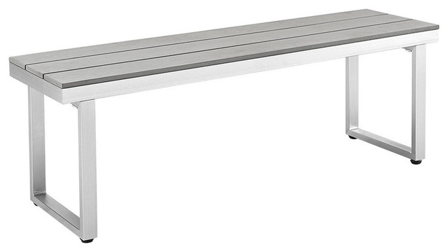 All, Weather Gray Patio Dining Bench