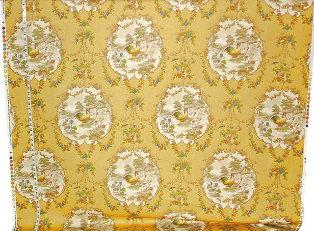 Yellow Rooster Toile Fabric French Country, P.Kaufmann