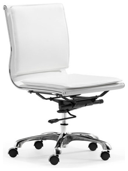 Modern White Leather, Chrome Armless Office/Conference Chair