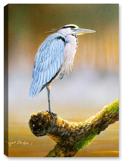 6b9ed6300a2 Great Blue Heron on Branch - Contemporary - Outdoor Wall Art - by Canvas  Art Plus