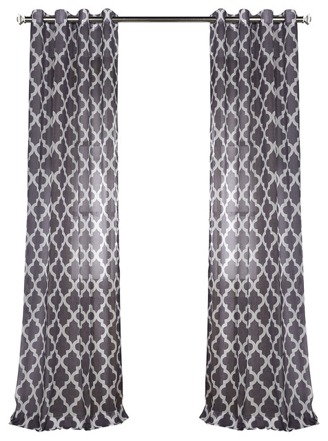 Birmingham Blue Grommet Printed Sheer Curtain Single Panel 50x 96 Mediterranean