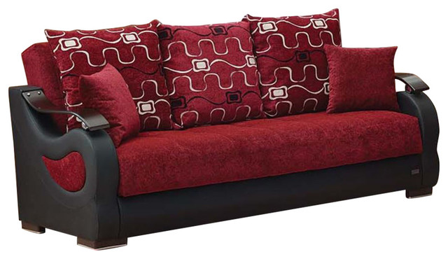 Empire Furniture Usa Pittsburgh Traditional Convertible Folding Sofa Bed Red
