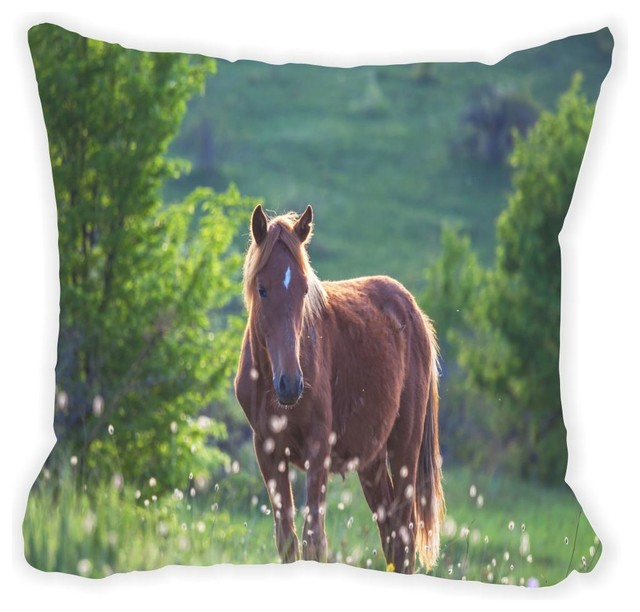 Brown Microfiber Throw Pillows : Beautiful Brown Horse Grazing In Field Microfiber Throw Pillow - Contemporary - Decorative ...