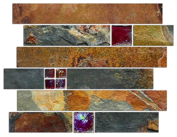 "10.25""x11.5"" Slate and Glass Subway Mosaic Backsplash Tile, Burgundy"