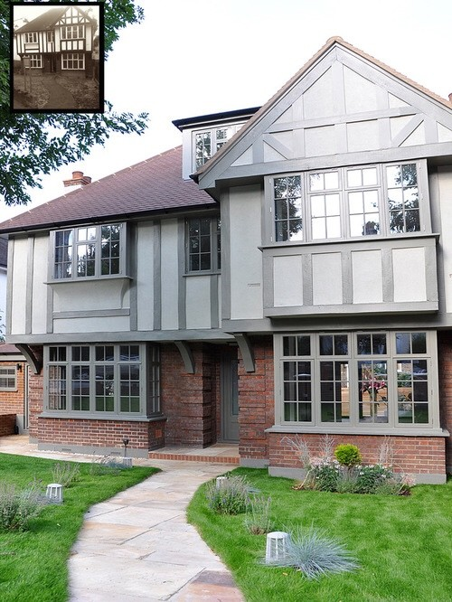 Exterior paint colour help for mock tudor - How much paint for exterior of house design ...