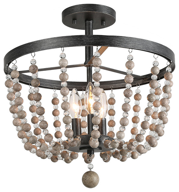 lowest price 8cf19 578d3 Farmhouse 3-Light Semi Flush Ceiling Lights, Distressed Wood Beads