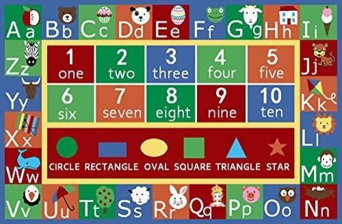 kids abc alphabet numbers educational nonskid area rug kids