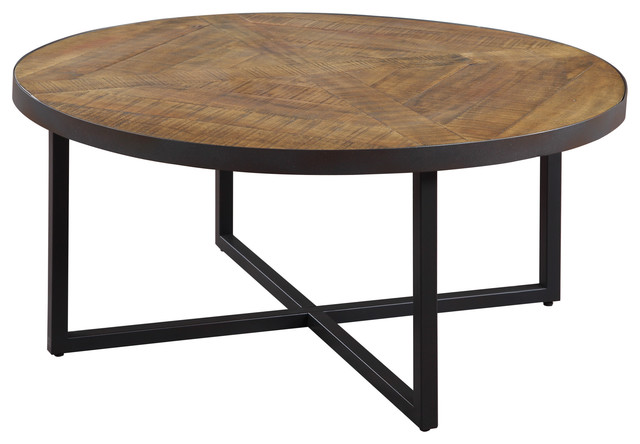Emerald Home Denton Round Cocktail Table Industrial Coffee Tables By Emerald Home