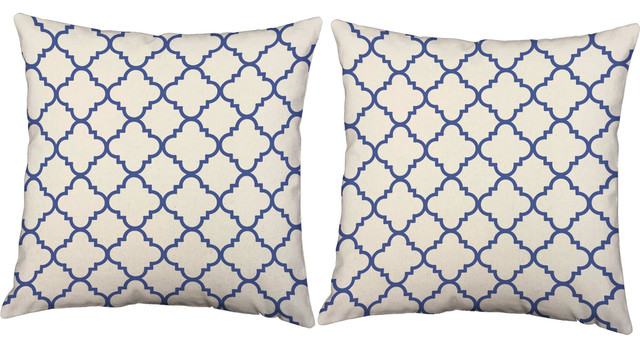 Blue Quatrefoil Throw Pillows Outdoor Cushions And
