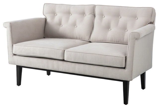 Ruth Modern Classic Ivory Faux Suede Loveseat Modern Loveseats