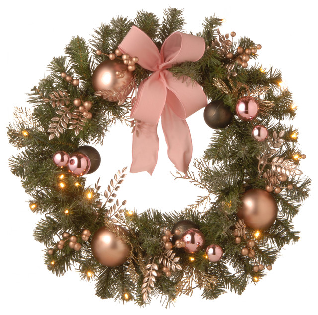 """28"""" Decorated Pine Wreath With Bow, Gold Ornaments, Berries & Led."""