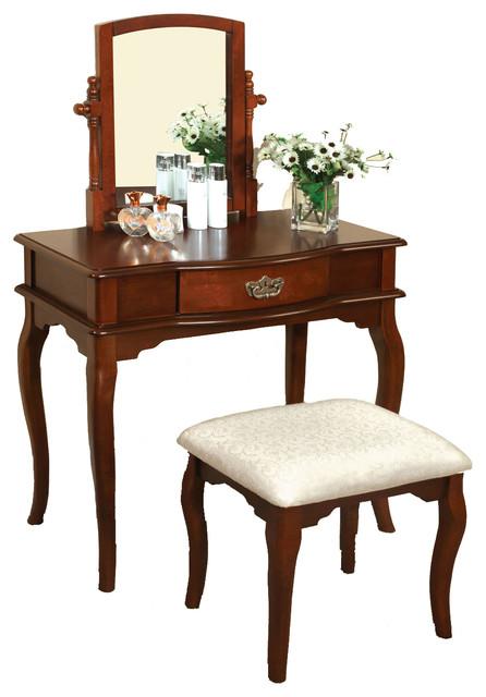large swivel mirror makeup table upholstered stool 3piece vanity set