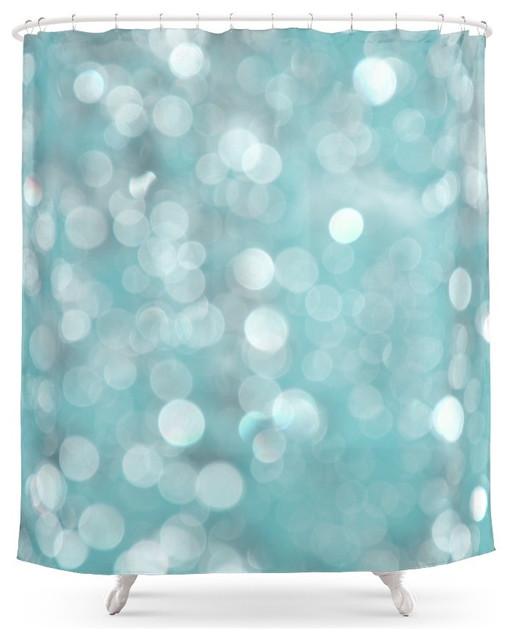 Society6 Aqua Bubbles Shower Curtain