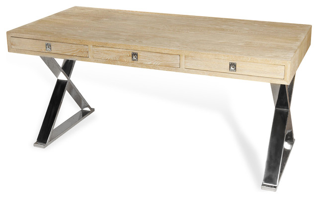 Menton Modern Industrial Loft Large Steel Wood Desk  : industrial desks and hutches from www.houzz.com size 640 x 400 jpeg 38kB
