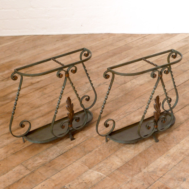 1960's Small Pair Of Wrought Iron Umbrella Stands