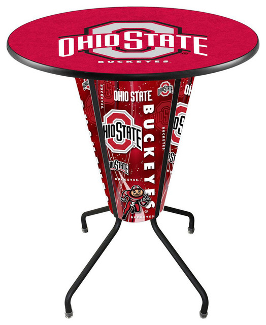 Ohio State Buckeyes Lighted Logo Pub Table Black