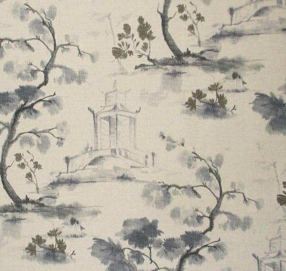 Oriental Toile Fabric Charcoal Ink Wash Painting Literati