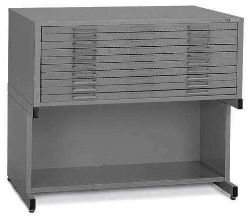 Ten-Drawer Horizontal Stackable File w Base in Grey Finish (24 in. x 36 in.) - Contemporary ...