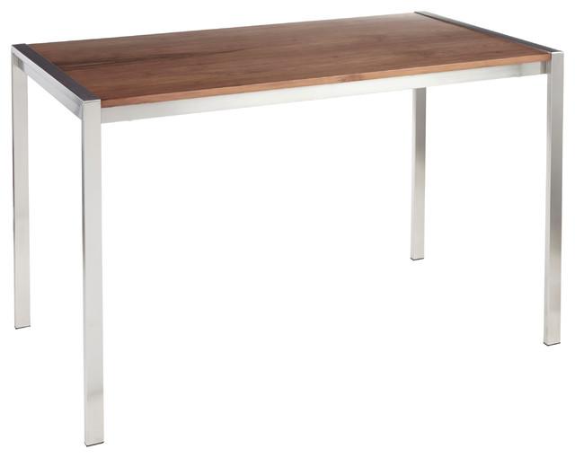 Fuji Modern Dining Table, Stainless Steel/Walnut Wood