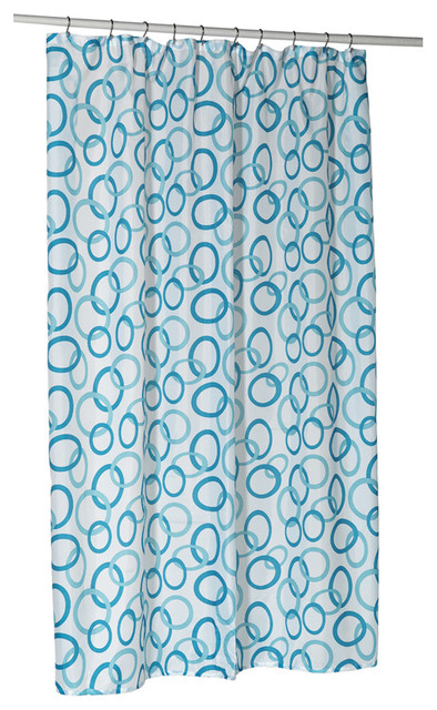 Circles Blue Stall Size 100 Polyester Fabric Shower Curtain 54 Wide X 78 Long