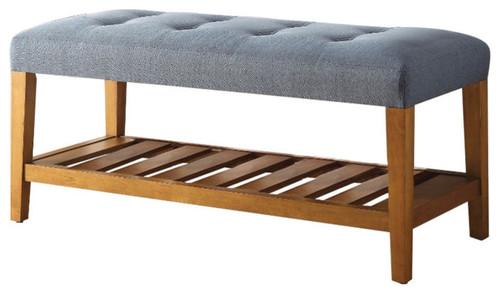 Wooden Bench, Blue and Oak