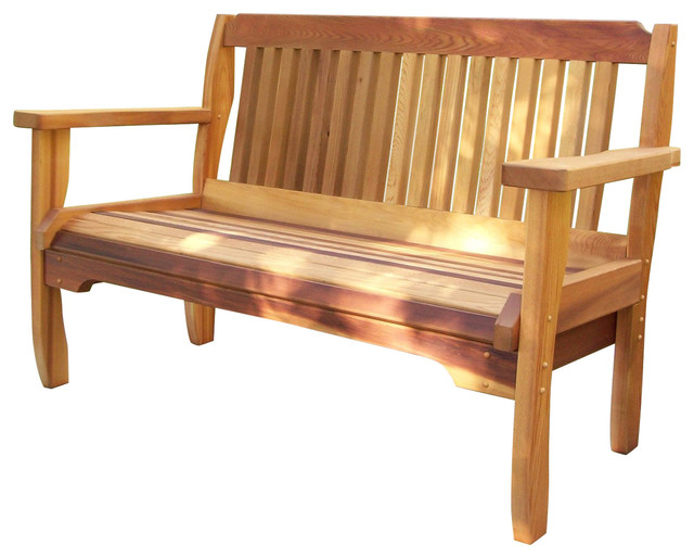 Wood Country Cabbage Hill Red Cedar Outdoor Garden Bench Transitional Benches By The Porch Swing