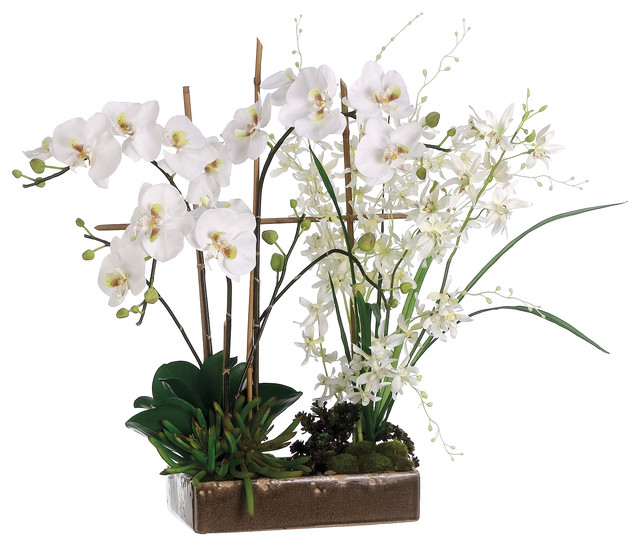 phalaenopsis and dendrobium orchid silk arrangement in ceramic dish traditional artificial flower arrangements - Silk Arrangements For Home Decor